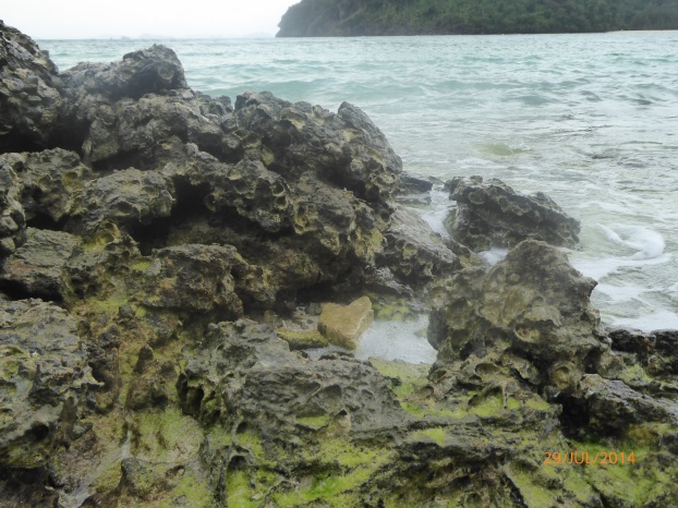 The rocks on the side of island. Get past it and you will be in true paradise.